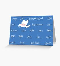 Peace in many languages Greeting Card