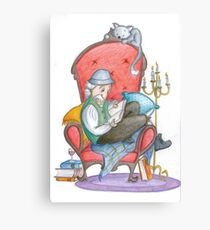 Don Quichot is reading his chivalry books Canvas Print