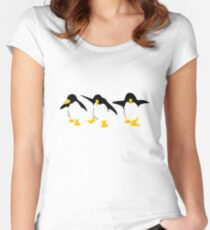 Three dancing Penguins Women's Fitted Scoop T-Shirt