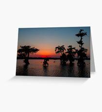 Kayaking at Sunset on Lake Martin, Louisiana Greeting Card