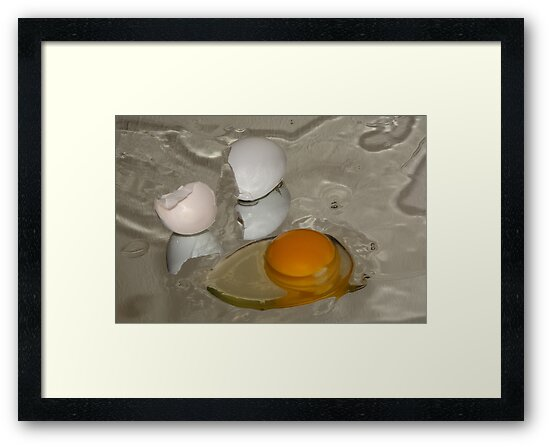 Raw egg and broken egg shell by Merrimon