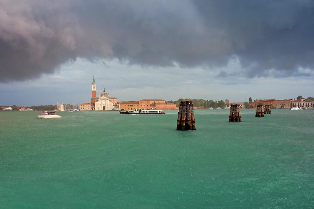 San Giorgio Maggiore in Venice Summer Rain by kirilart
