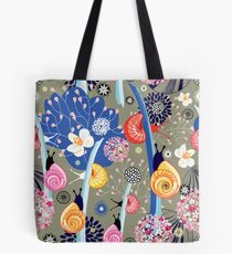 Floral pattern with bright snail Tote Bag