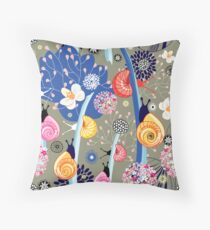 Floral pattern with bright snail Throw Pillow