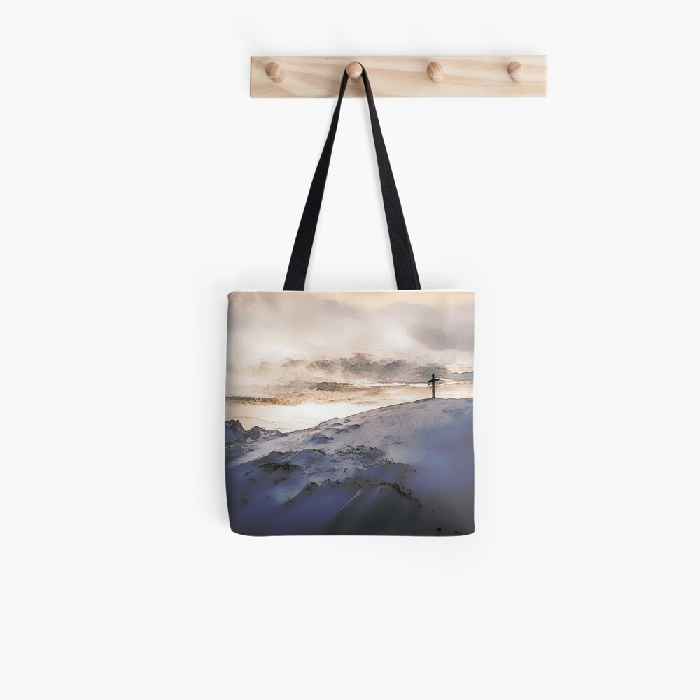 Christian Cross On Mountain Tote Bag