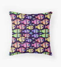 Colorful Fishes Pattern Design Throw Pillow