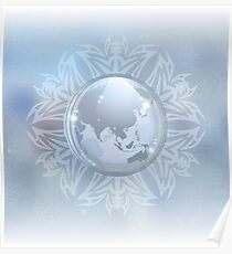 Snow globe with map Poster