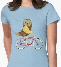 Owl Bicycle Women's Fitted T-Shirt