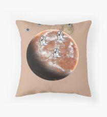 Little monsters on Mars  Throw Pillow