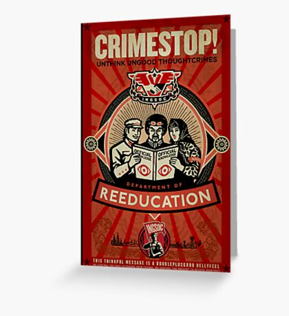 Crimestop 1984 Propaganda Poster Greeting Card