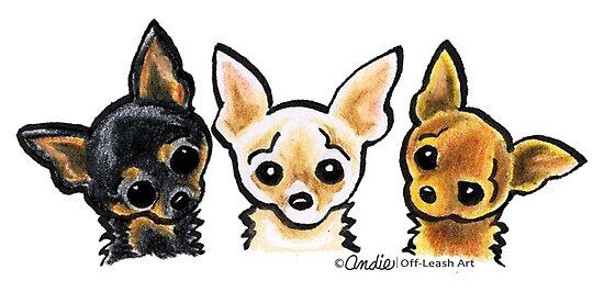 Smooth Chihuahua Trio by offleashart