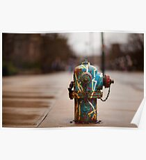Colored Fire Hydrant 2 Poster