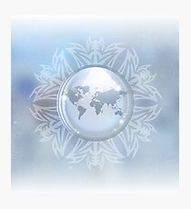 Snow globe with map Photographic Print