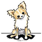Longhaired Fawn/White Chihuahua Sit Pretty by offleashart
