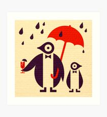 Penguins Keeping Dry Art Print