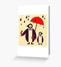 Penguins Keeping Dry Greeting Card