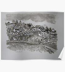 Pen and Ink-The Bridge-Llandeilo-01 Poster