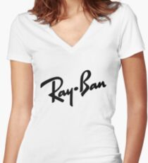 Ray Bans Logo (Graphic Tee) Women's Fitted V-Neck T-Shirt