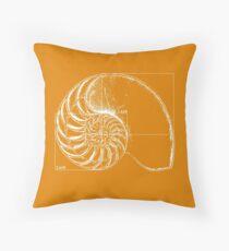 Fibonacci on a nautilus shell (orange) Throw Pillow