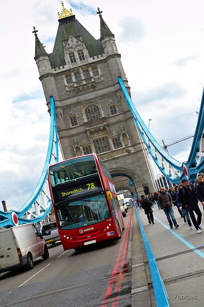 Tower bridge and double decker bus in London by 7horses