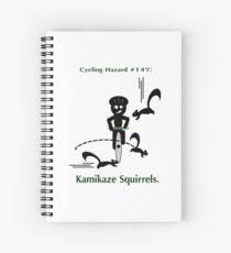Cycling Hazards - Kamikaze Squirrels Spiral Notebook