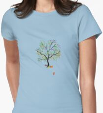 Foxes and Rainbow Tree Womens Fitted T-Shirt
