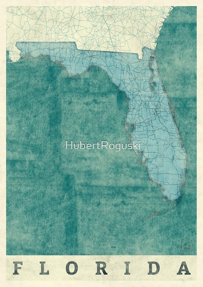 Florida Map Blue Vintage by HubertRoguski