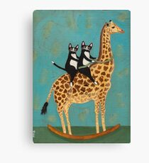 Cats on a Rocking Giraffe Canvas Print