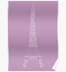'Wordy Structures' Eiffel Tower Purple Poster