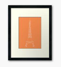 'Wordy Structures' Eiffel Tower Orange Framed Print