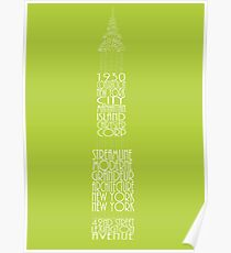 'Wordy Structures' Chrysler Building Green Poster
