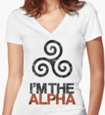 I'M THE ALPHA Women's Fitted V-Neck T-Shirt