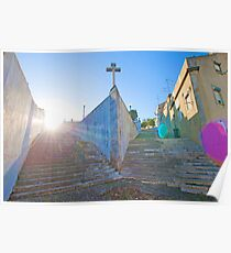 ermida de sto. amaro resembling the bow of a boat and the stairs, waves. Poster
