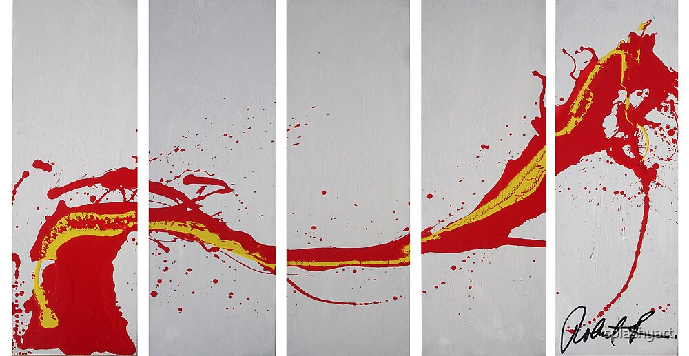 The Red Dragon Poster - Art Abstract Painting Original Signed Artist by splashyart