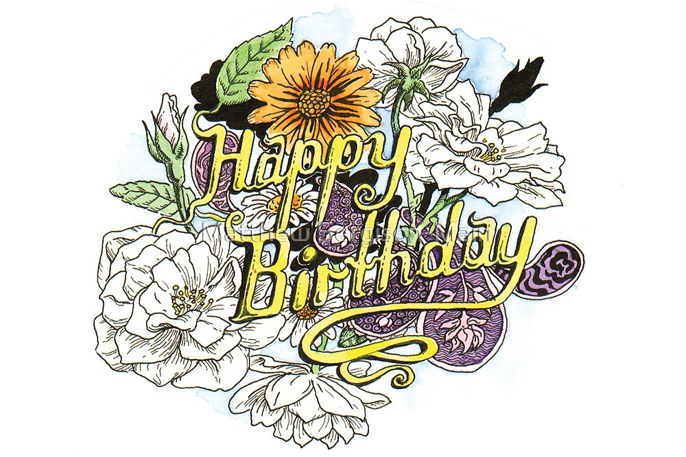 Happy Birthday - flowers and paisley fun by Matthew Sergison-Main