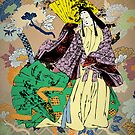 Japanese Traditional Woman with Flower Pattern by thejoyker1986