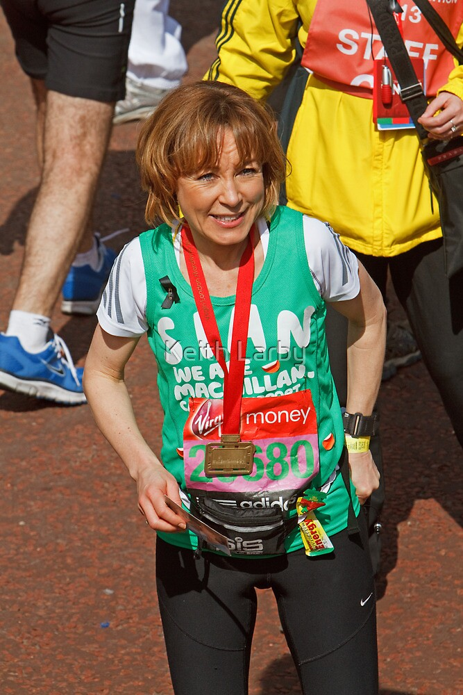 Sian Williams BBC Breakfast presenter at the finish line of the London Marathon by Keith Larby