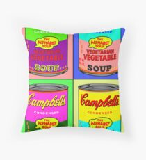 Vegetarian Campbell's Warhol Tribute Throw Pillow