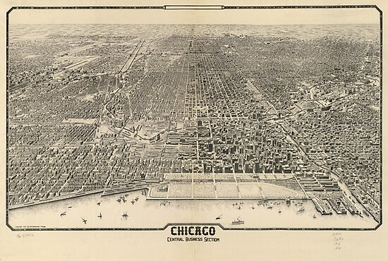 Vintage Pictorial Map of Chicago (1916) by alleycatshirts