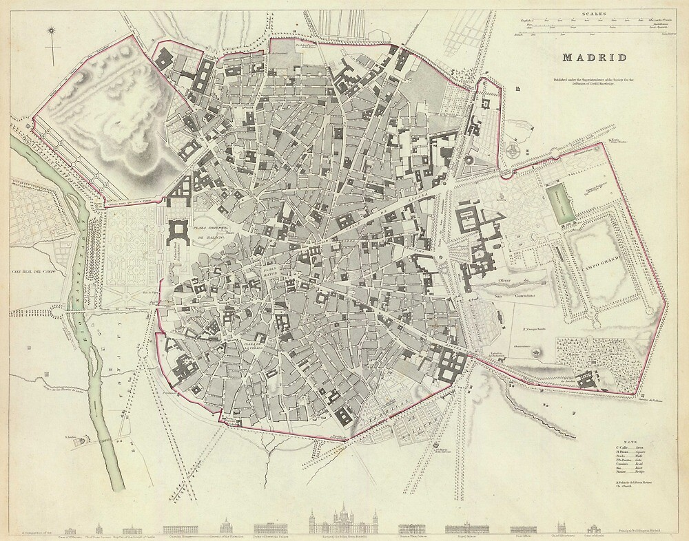 Vintage Map of Madrid Spain (1831) by alleycatshirts