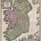 Vintage Map of Ireland (1716) by alleycatshirts