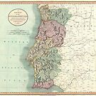 Vintage Map of Portugal (1801) by alleycatshirts