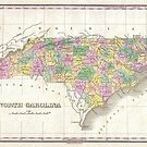 Vintage Map of North Carolina (1827) by alleycatshirts