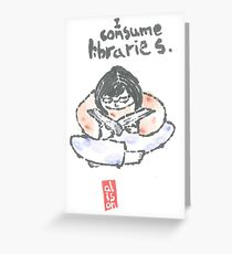 I Consume Libraries Watercolor Etegami postcard Greeting Card
