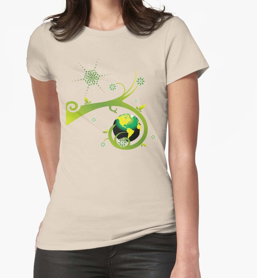 Earth eco friendly design womens fitted t shirts by for Environmentally friendly t shirts
