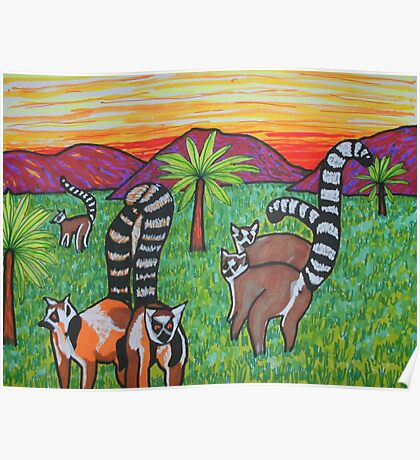 Lemurs in the grass Poster