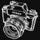 Nikon F Classic Film Camera Illustration WHITE for dark colors by strayfoto