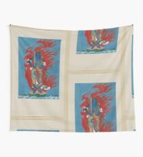 Mythological blue Buddhist or Hindu figure full length standing on small island among waves facing right against backdrop of flames with phoenix head 001 Wall Tapestry