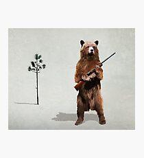 Bear with a shotgun Photographic Print
