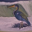 Tri Colored Heron In Surf by towncrier